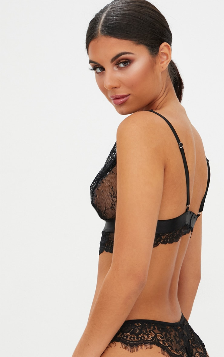 Black Scallop Lace Underbust Detail Bra 2