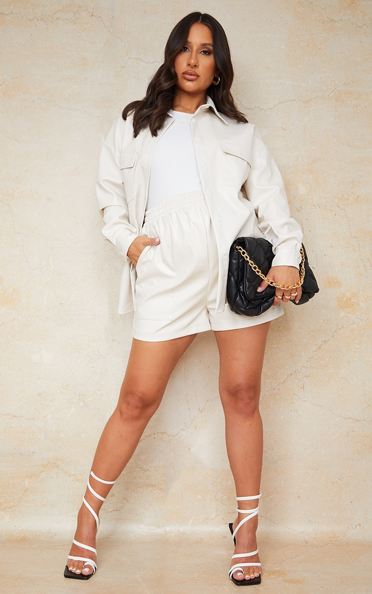 Maternity Cream Faux Leather Pocket Detail Shirt 3