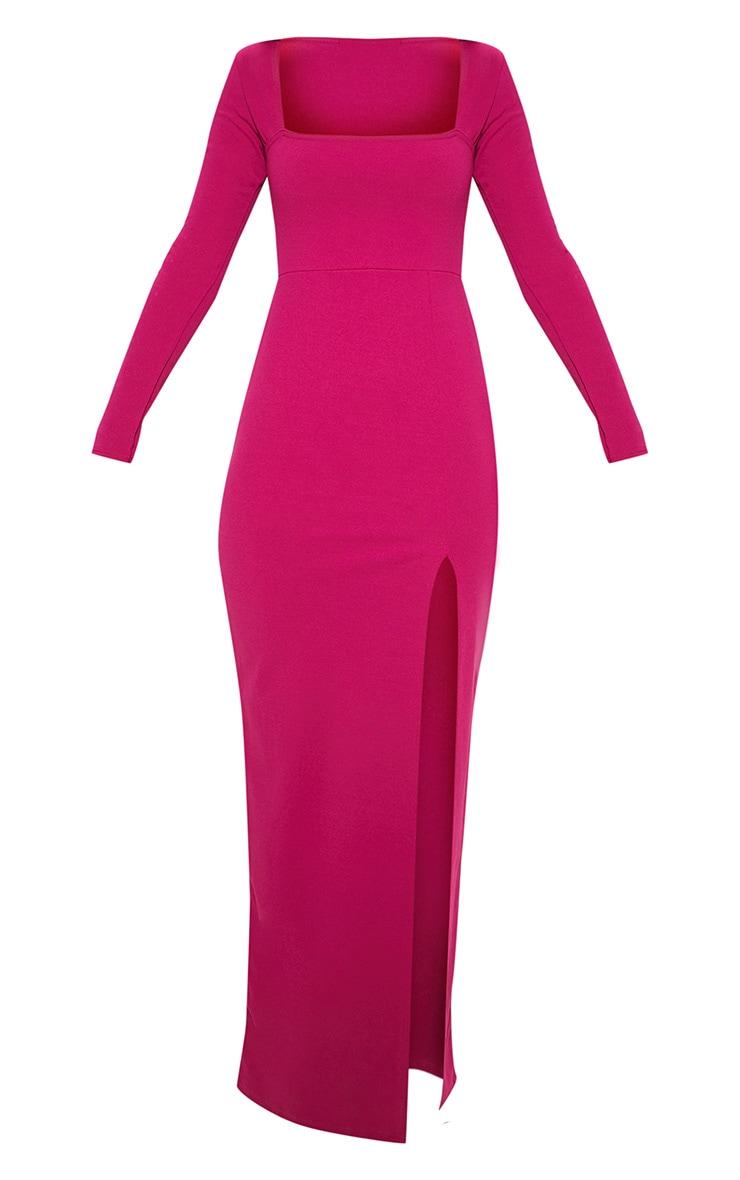 Hot Pink Square Neck Split Leg Maxi Dress 3