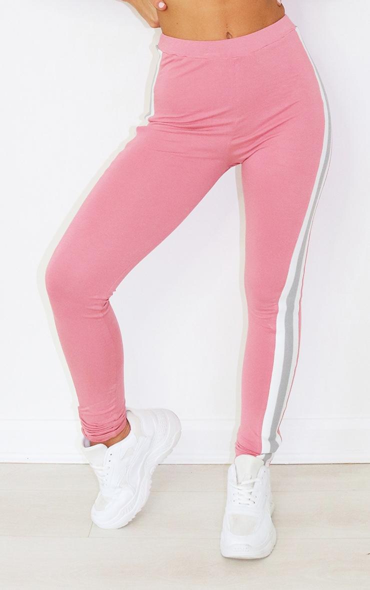 Dusty Pink Multi Side Stripe Leggings 2