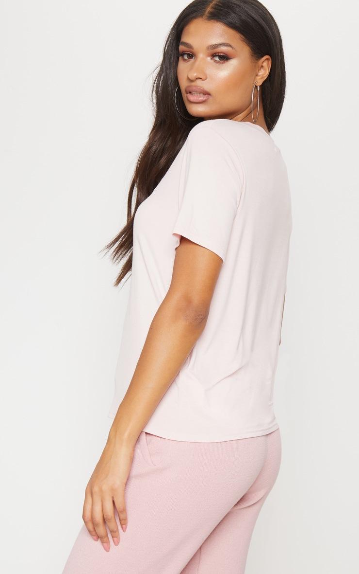 Pink Embroidered Milan Slogan T Shirt  2