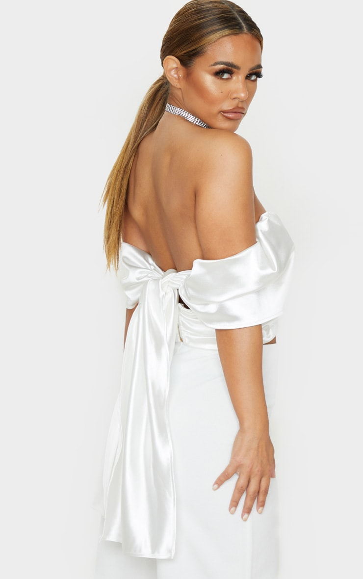 Petite Cream Satin Tie Back Plunge Crop Top 2