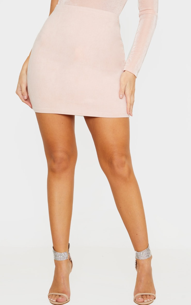 Nude Basic Faux Suede Mini Skirt 2