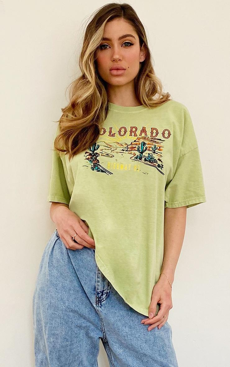 Green Colorado Logo Oversized Washed T Shirt 1