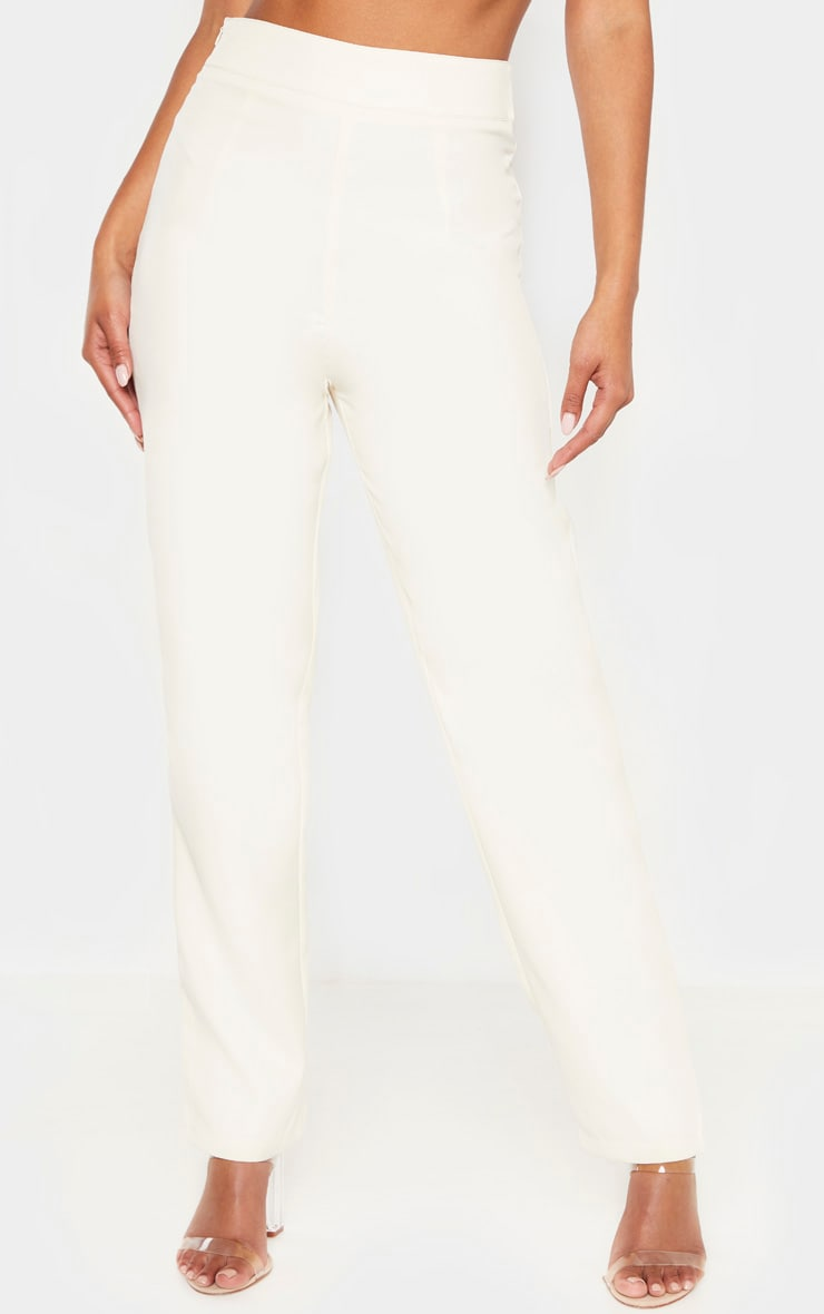 Cream Buckle Detail Straight Leg Trouser 2