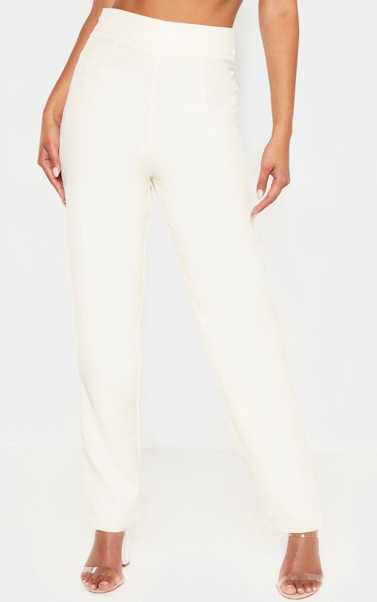 Cream Buckle Detail  Straight Leg Pants  2