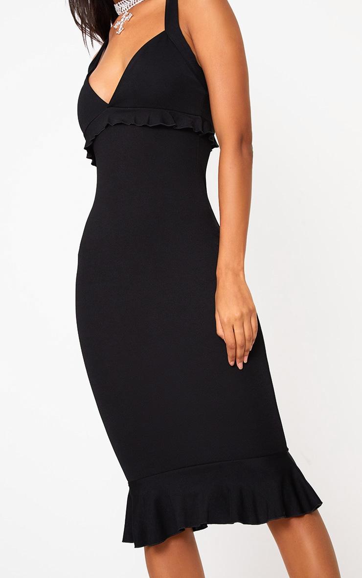 Black Frill Detail Midi Dress 5