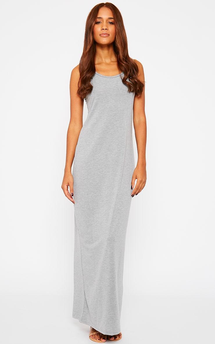 Basic Grey Jersey Maxi Dress 3