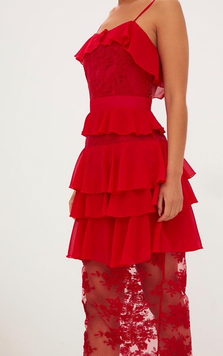 Red Strappy Lace Chiffon Layer Midi Dress 4
