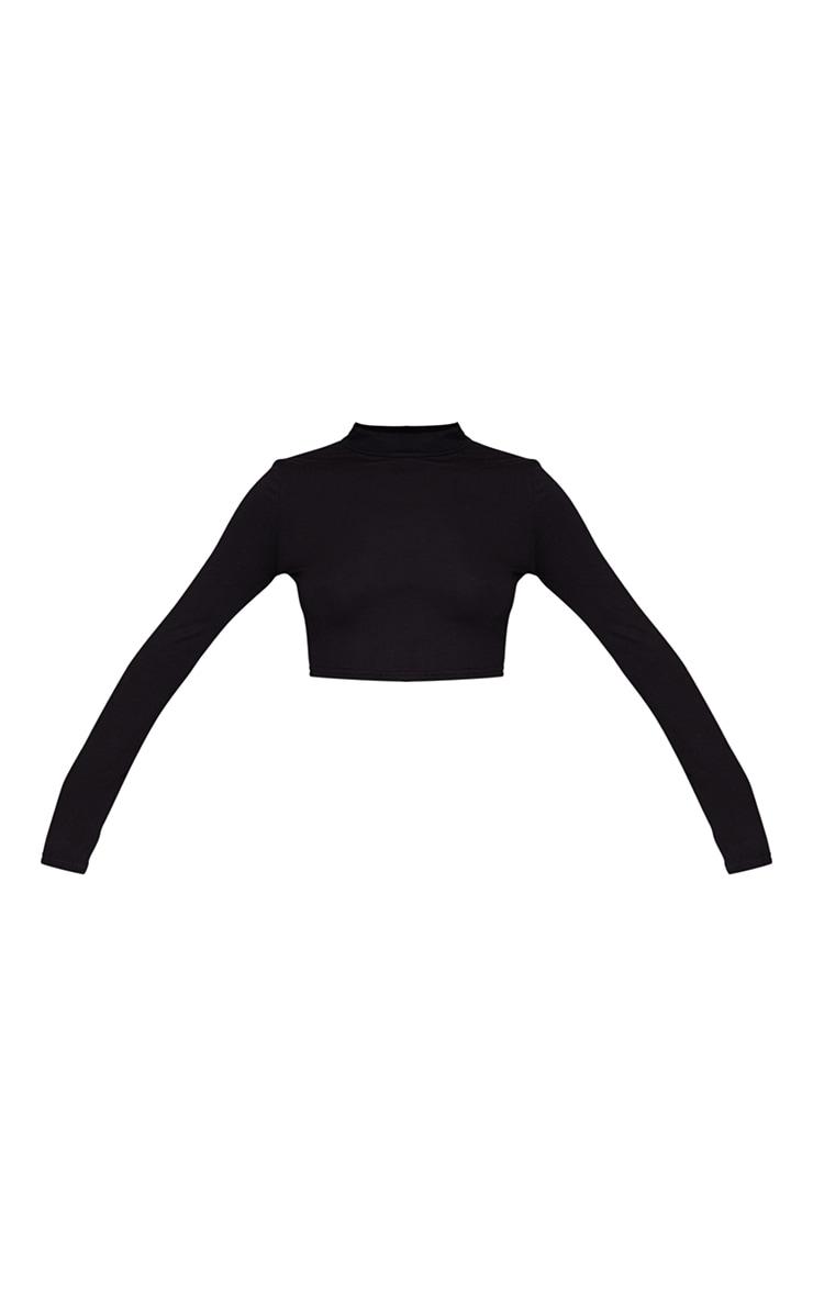 Black High Neck Long Sleeve Crop Top 5