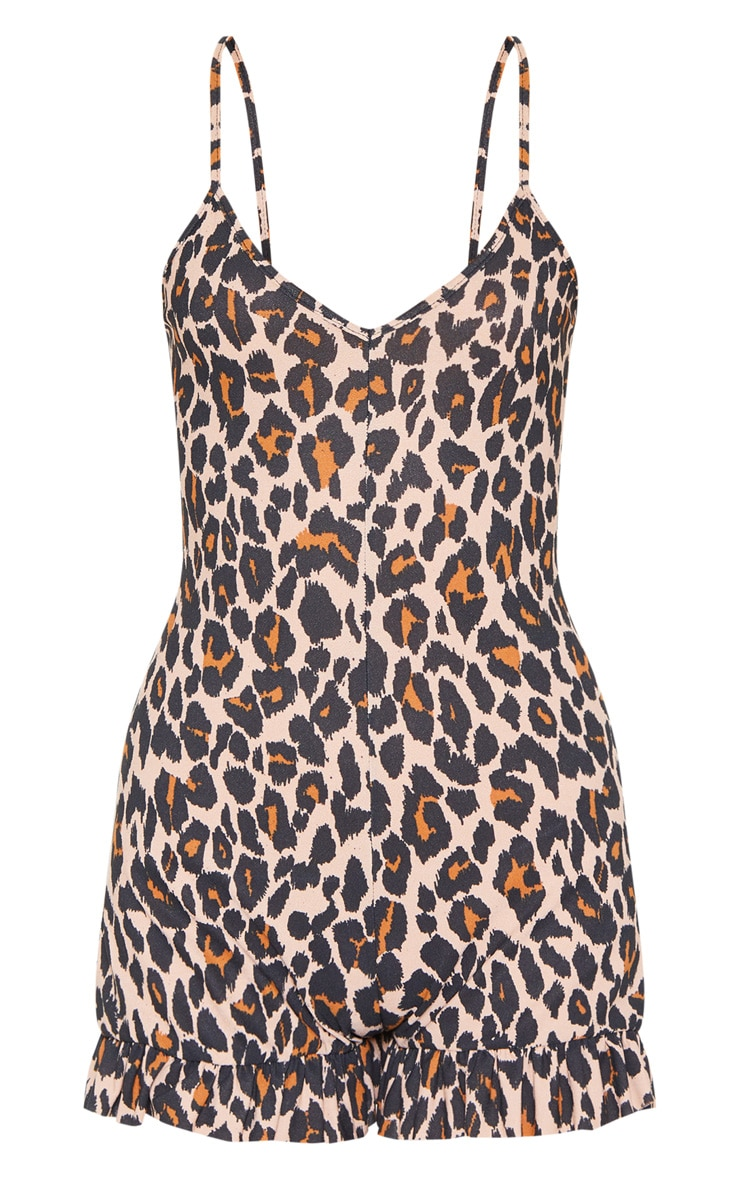 Tan Leopard Print Frill Romper 3
