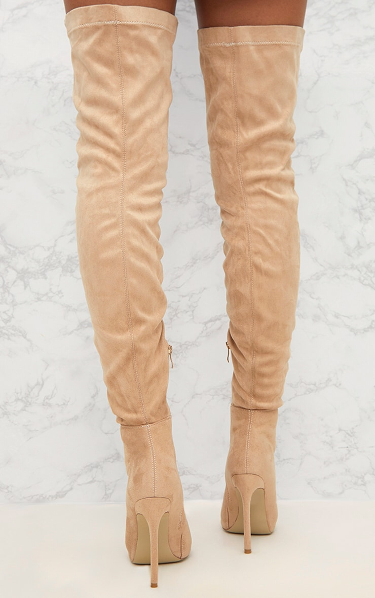 Nude Faux Suede Thigh High Peep Toe Heeled Boots 4