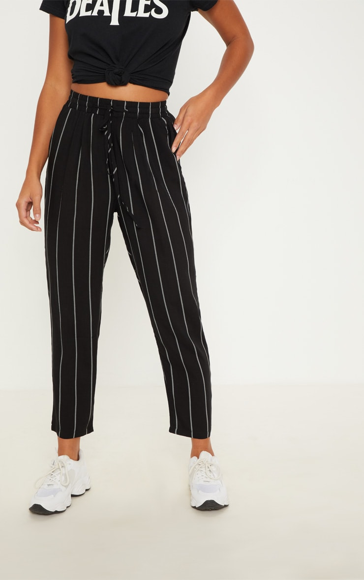 Petite Monochrome Stripe Casual Trousers 2
