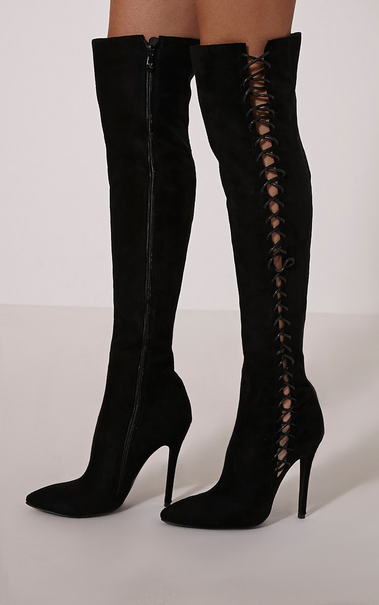 Quinna Black Lace Detail Knee High Boot 1