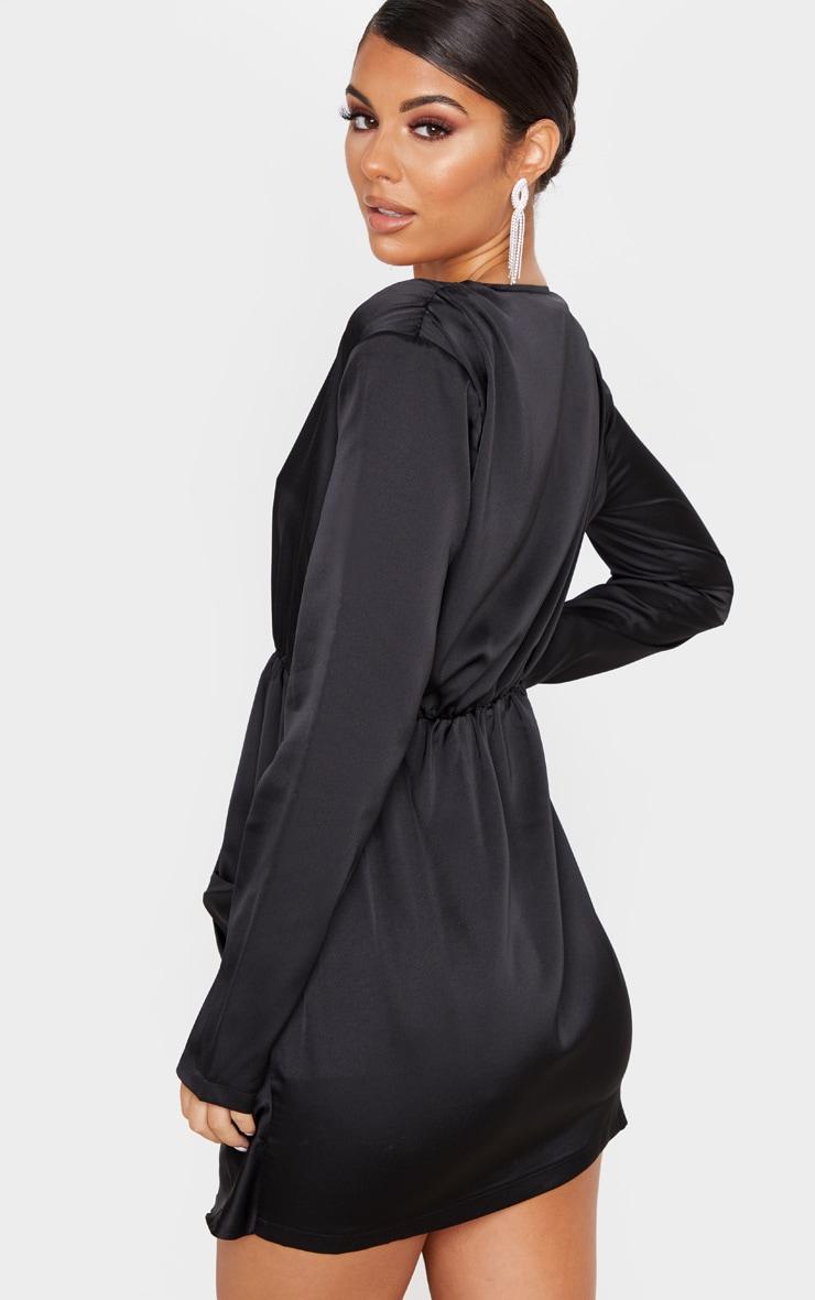 Black Satin Extreme Plunge Drape Bodycon Dress 2
