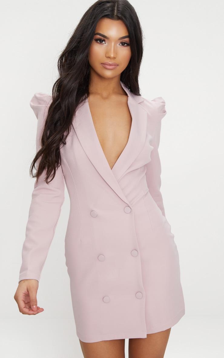 Dusty Pink Puff Sleeve Button Up Blazer Dress  3