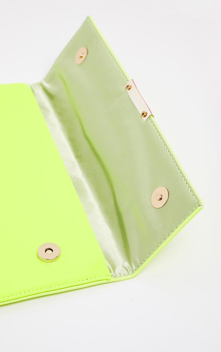 Neon Lime Basic Clutch Bag 3