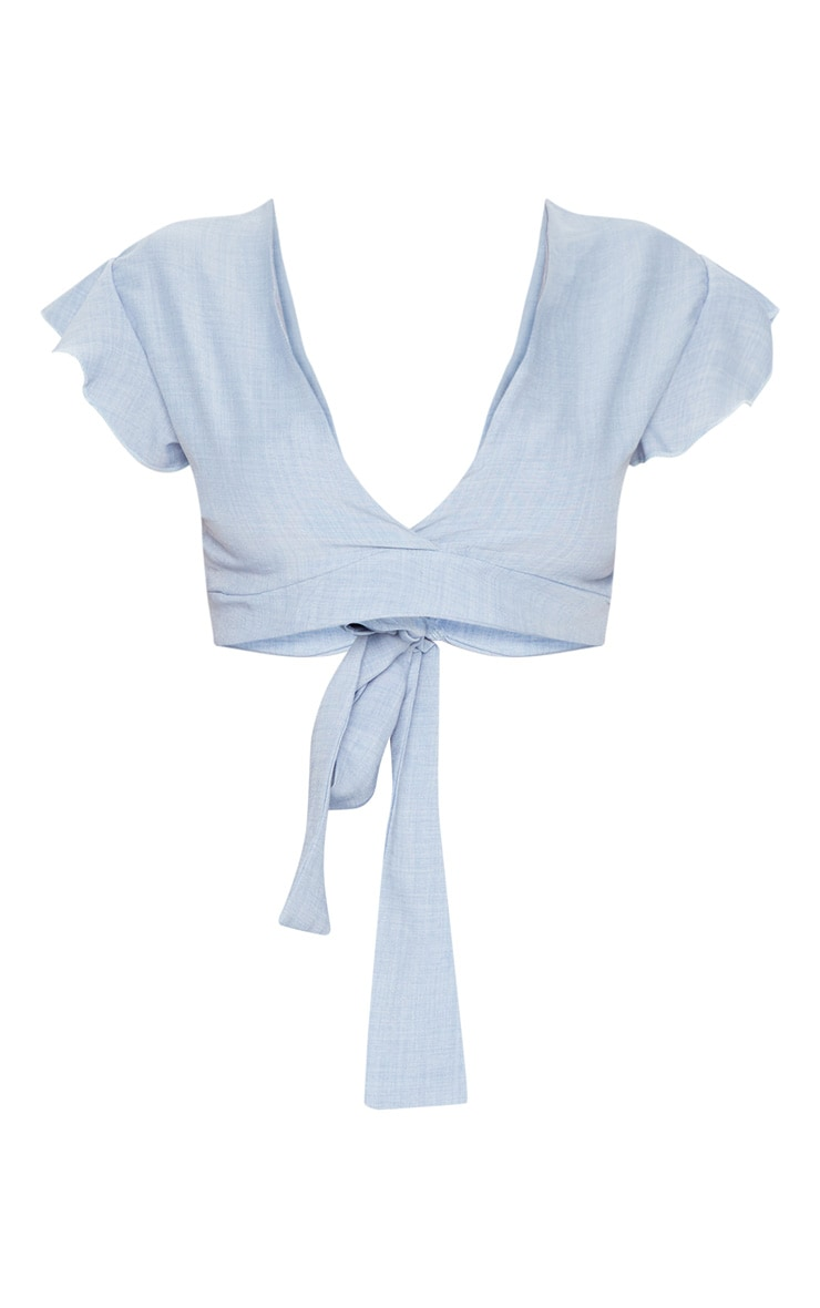 Blue Plunge Frill Sleeve Crop Blouse 3
