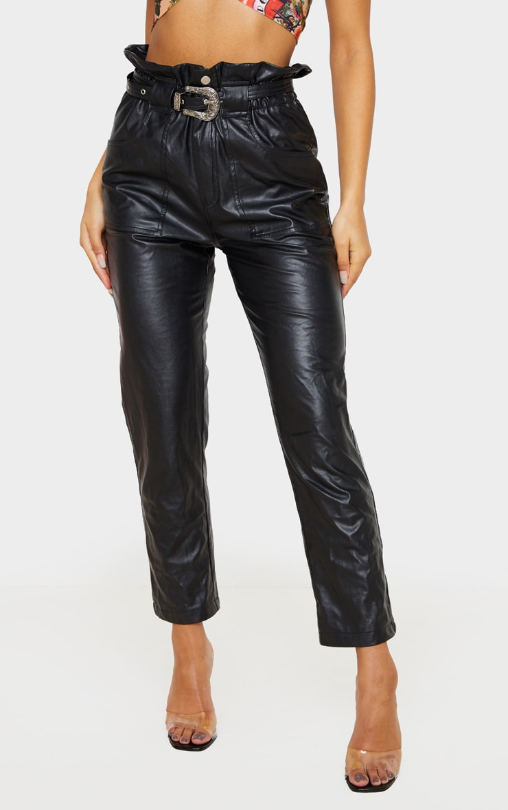 Black Western Belted Faux PU Trousers 3