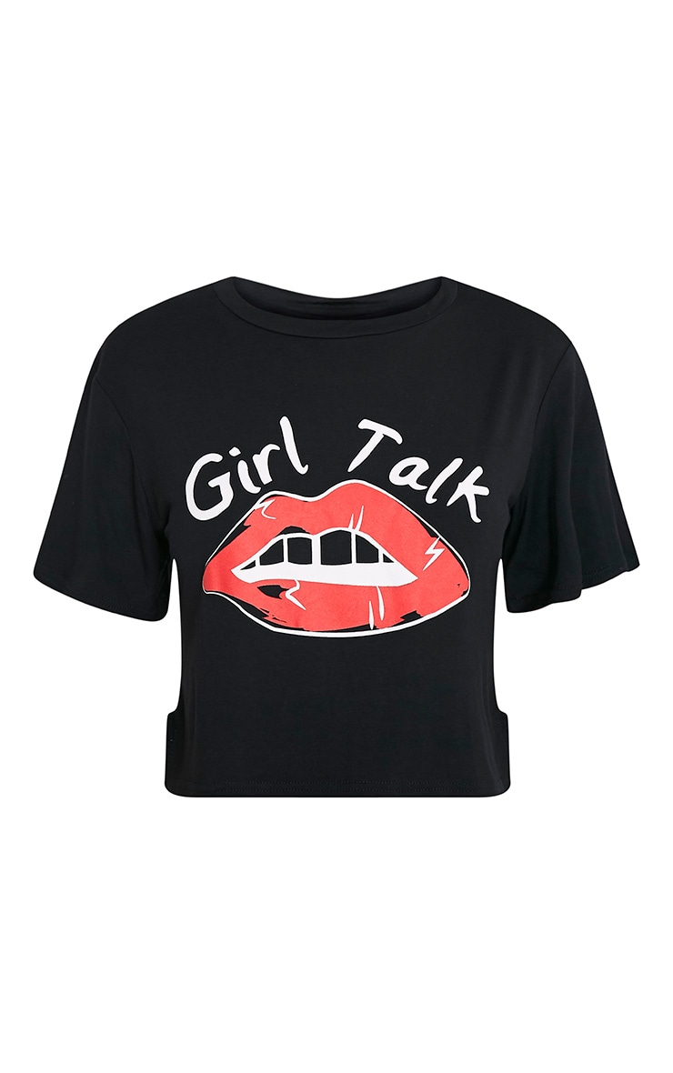 Girl Talk Slogan Black Cropped T Shirt 3