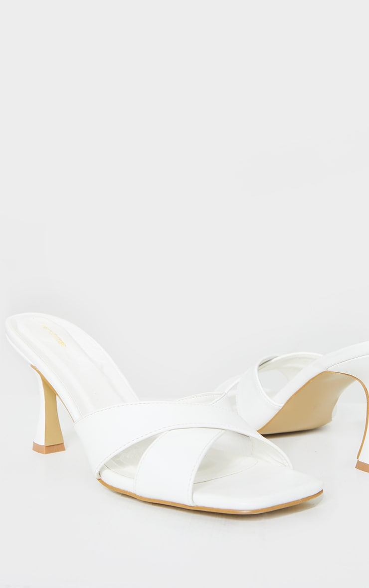 White Cross Strap Flare Low Heel Mules 3