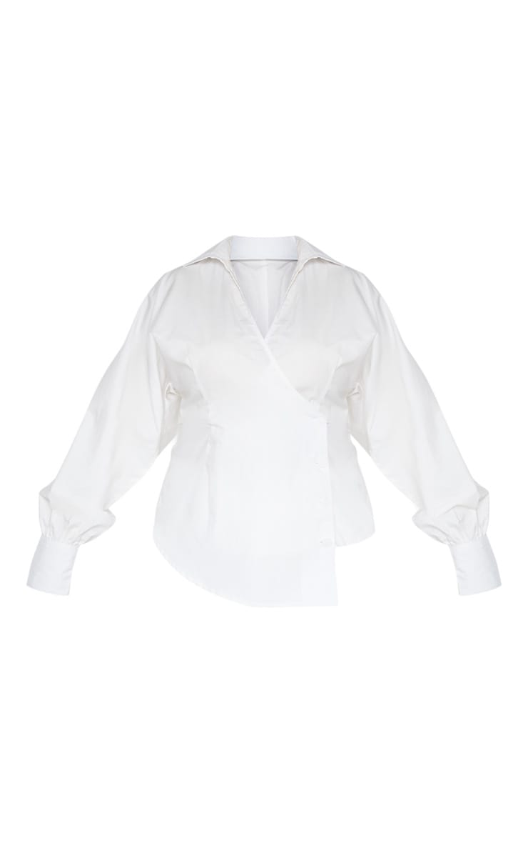 Plus White Woven Button Detail Puff Sleeve Blouse  3