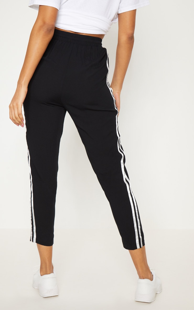 Black Double Stripe Drawstring Casual Trouser 4