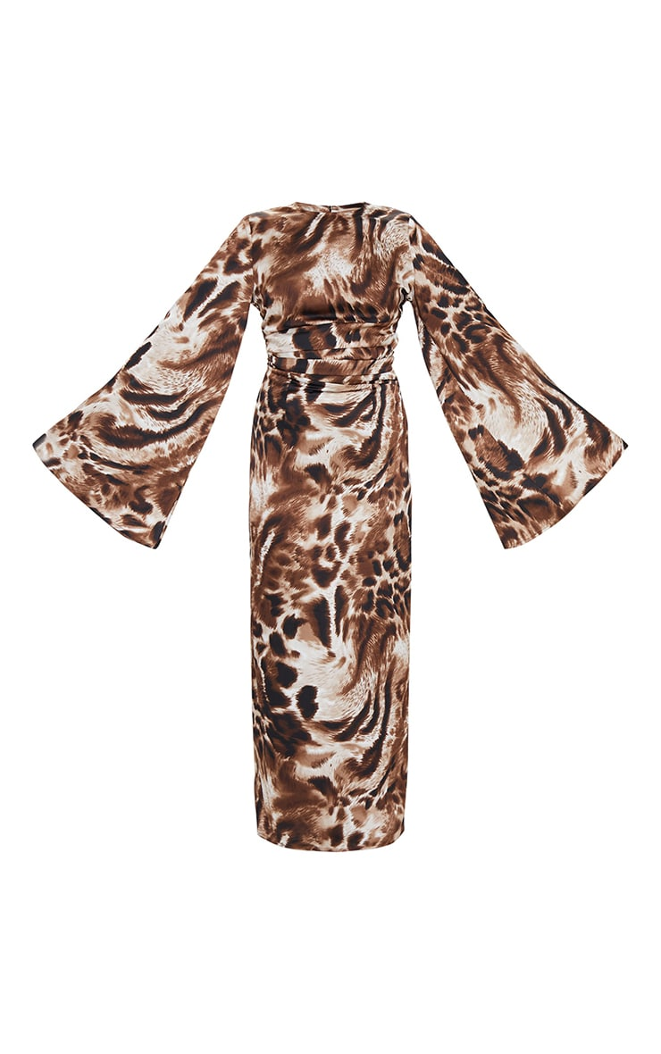 Brown Animal Print Pleat Detail Flare Sleeve Maxi Dress 5
