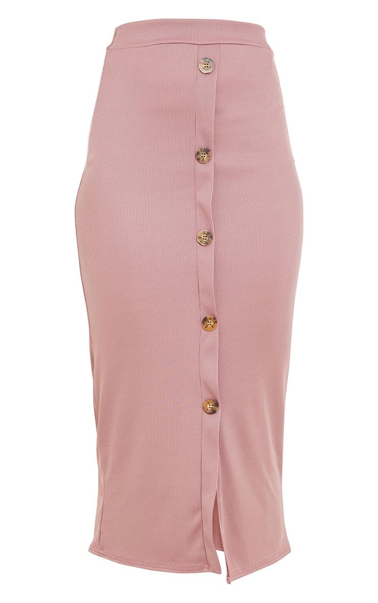 Mauve Rib Button Front Midaxi Skirt 5
