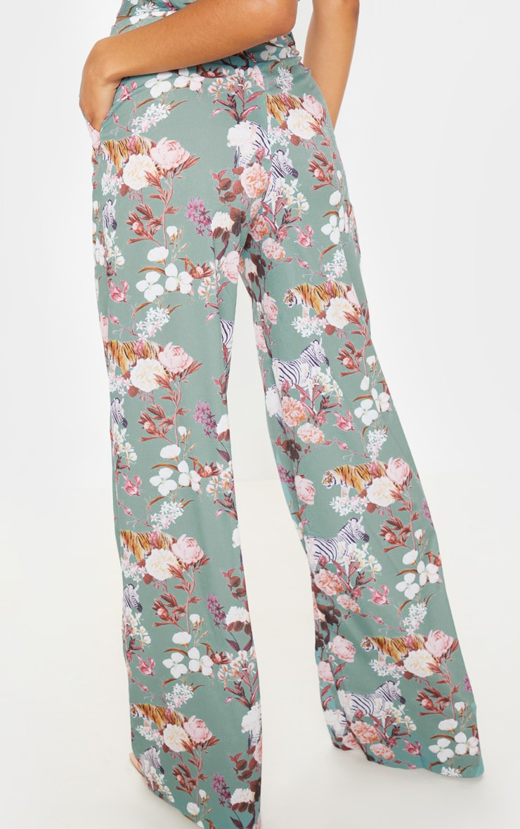 Sage Green Floral Print High Waisted Wide Leg Pants 4
