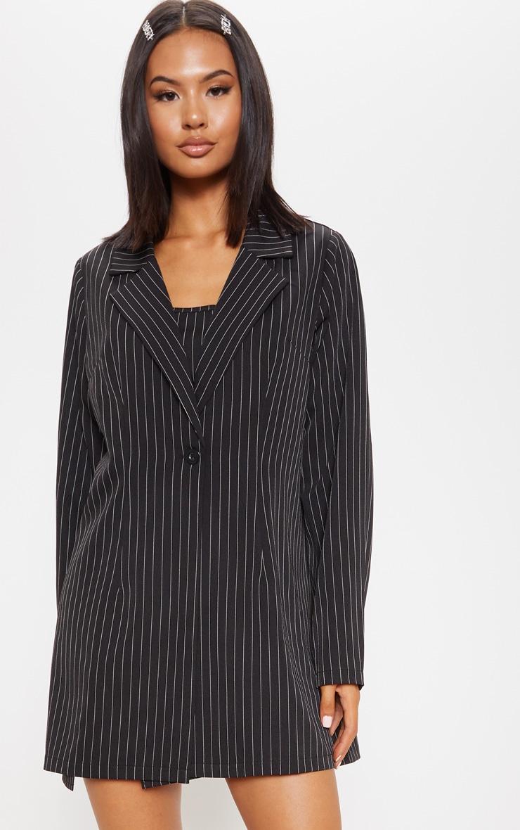 Black Pinstripe Oversized Woven Blazer 4