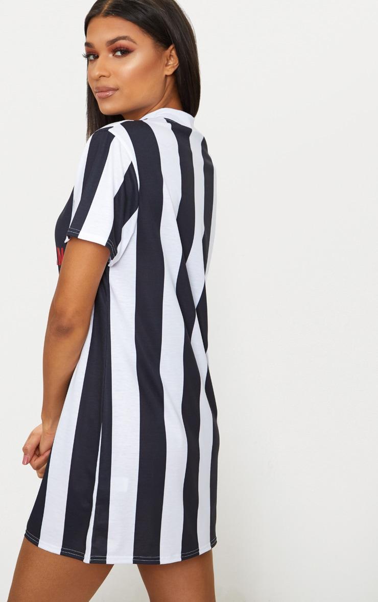PRETTYLITTLETHING Monochrome Football Style T Shirt Dress 2