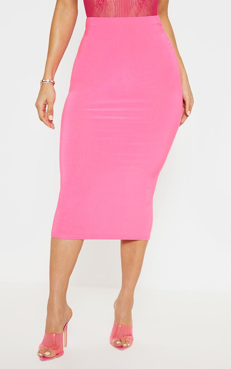 Neon Pink Slinky Midaxi Skirt 2