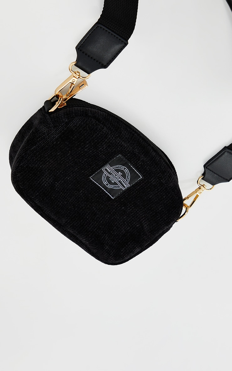 PRETTYLITTLETHING Black Cord Mini Cross Body Bag 3