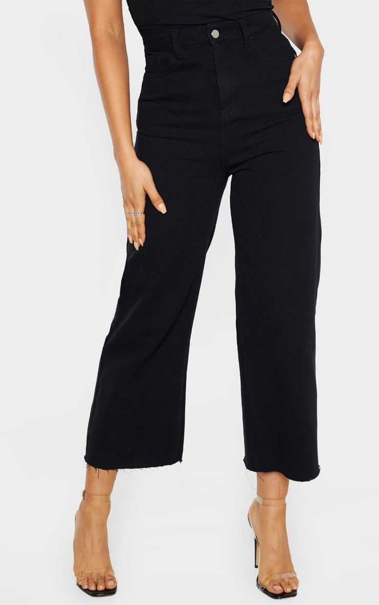 Tall Black Wide Leg Cropped Jeans 2