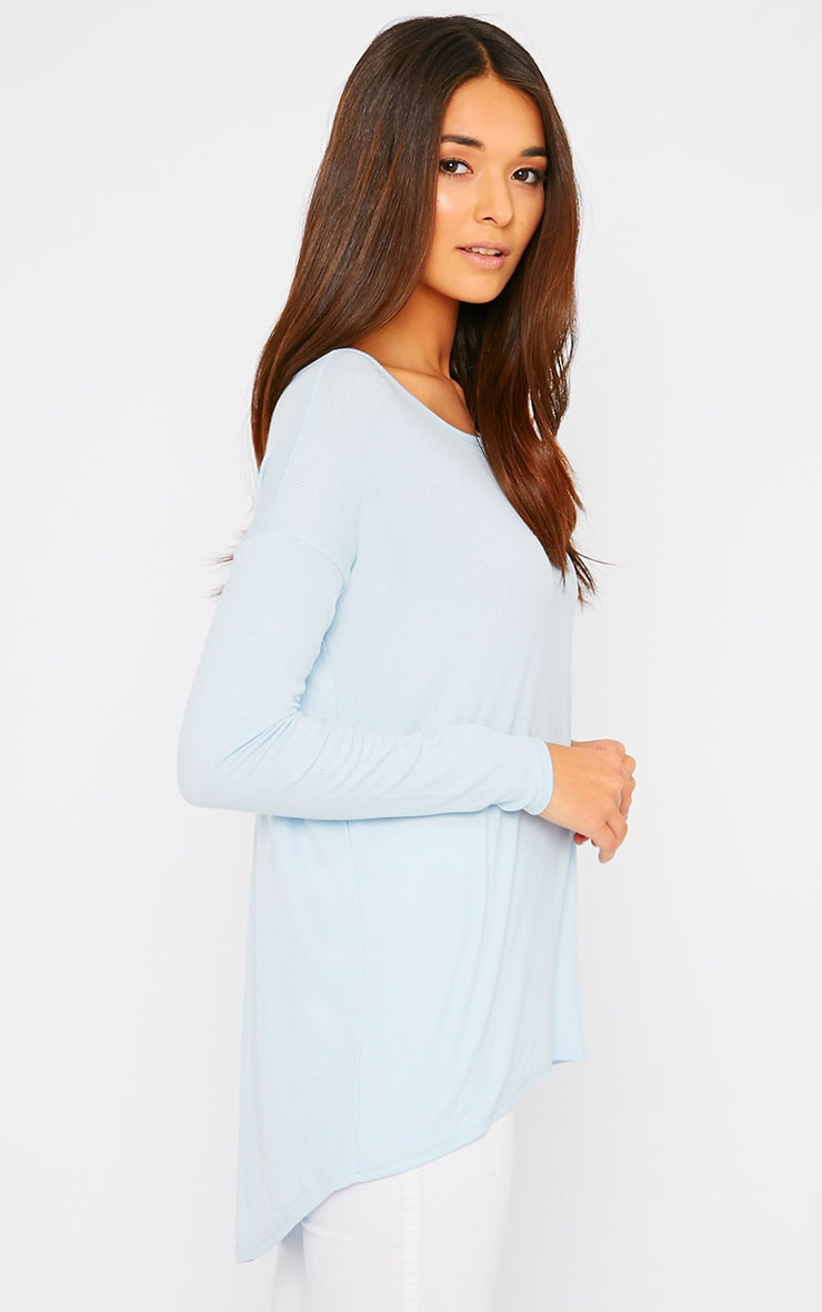 Sienna Powder Blue Ribbed Dipped Hem Top  3