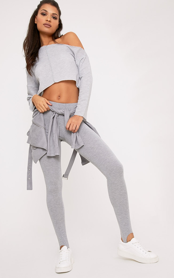Hadley Grey Off Shoulder Cropped Sweater 4