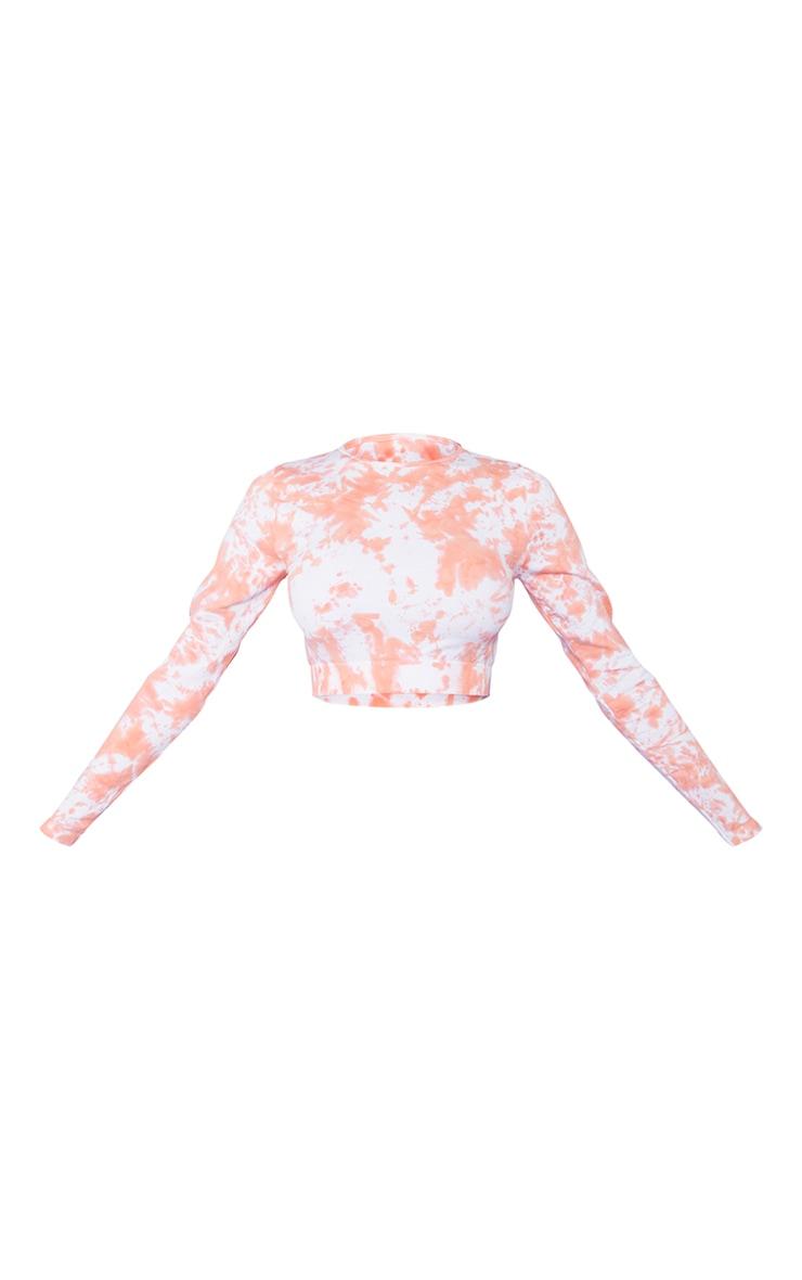 Orange Tie Dye Seamless Long Sleeve Sport Crop Top 5