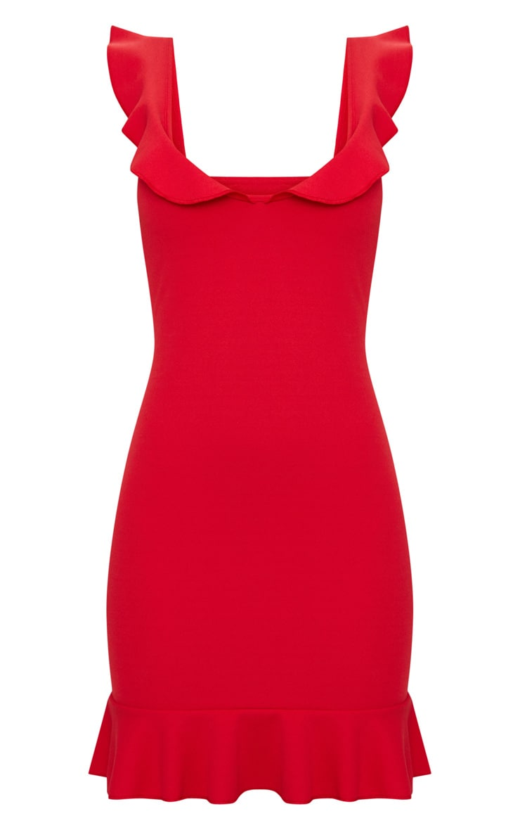 Red Frill Detail Bodycon Dress 3