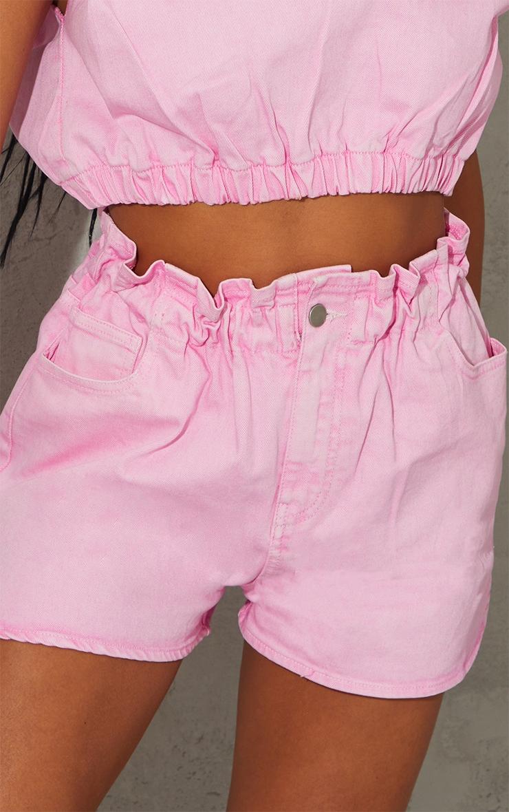Pink Acid Paperbag Denim Shorts 5
