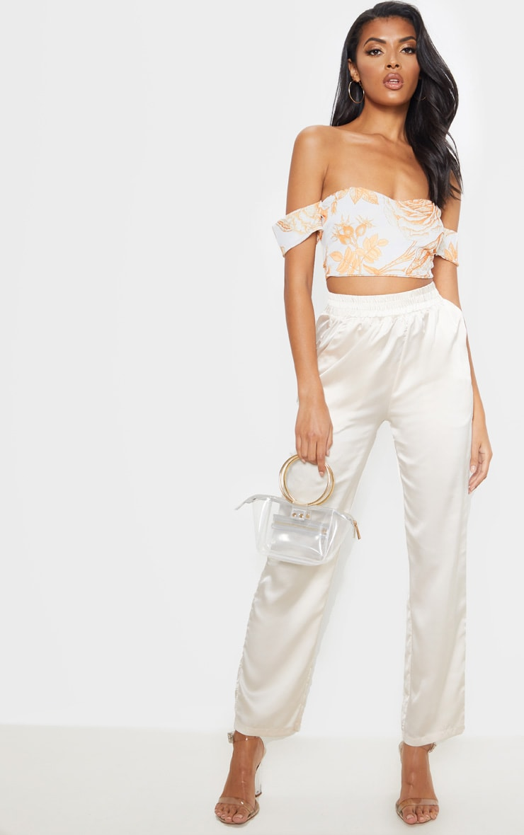 White Oriental Bardot Sweetheart Crop Top 4