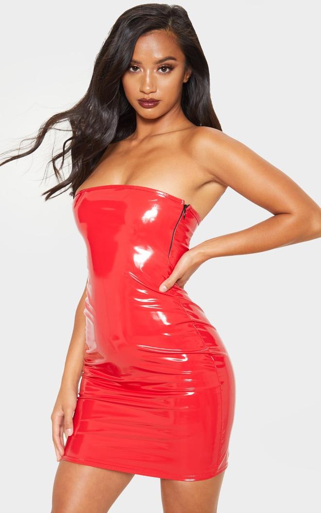 Petite Red Vinyl Mini Dress 1