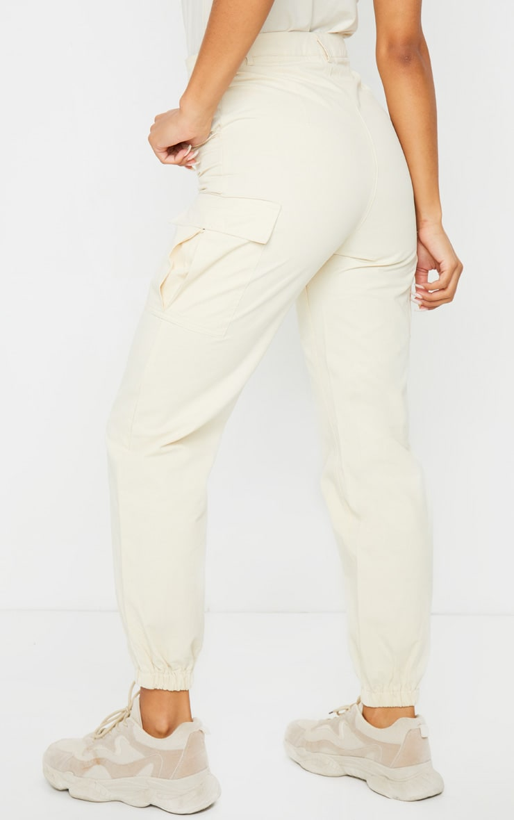 Cream Pocket Detail Cargo Pants 3