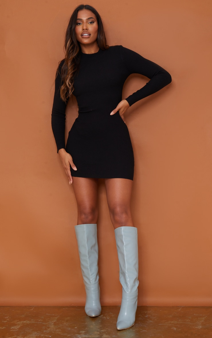 Black Tie Back Lace Up Knitted Mini Dress 2