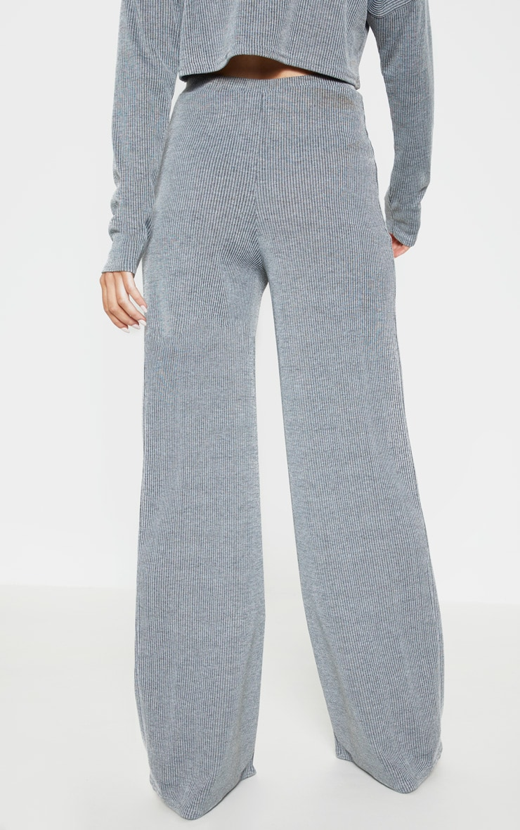 Grey Stripe Wide Leg Lounge Pants 4