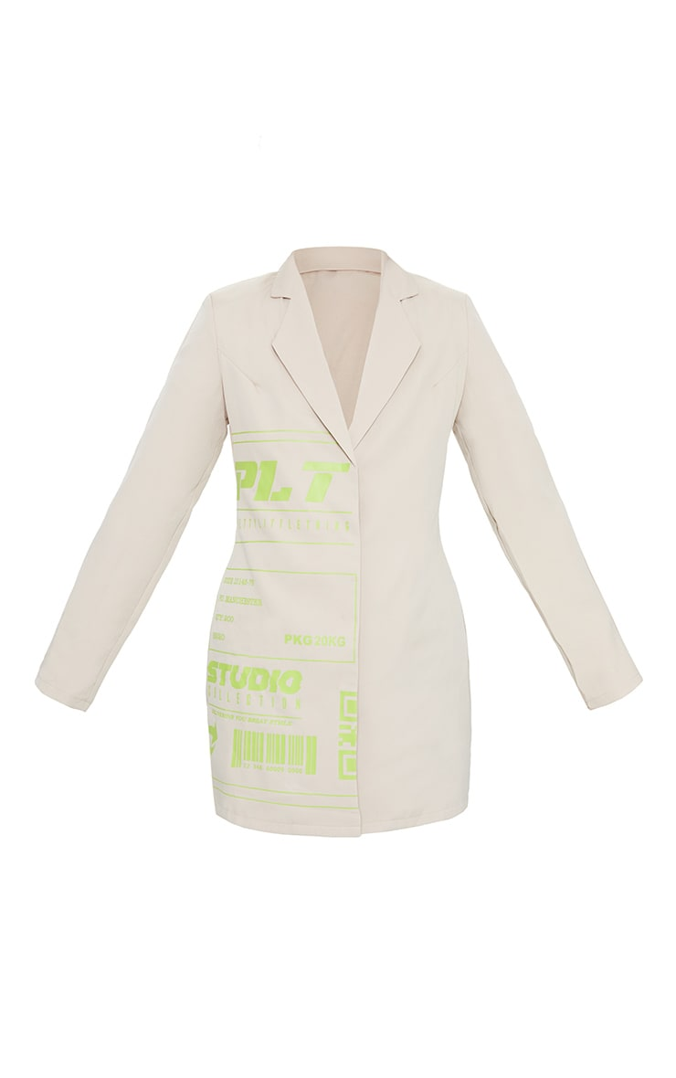 PRETTYLITTLETHING Stone Slogan Blazer Dress 5