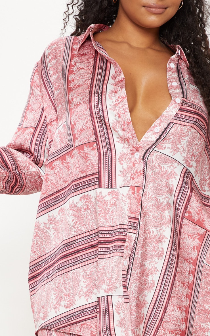 Plus Pink Scarf Print Oversized Shirt 5