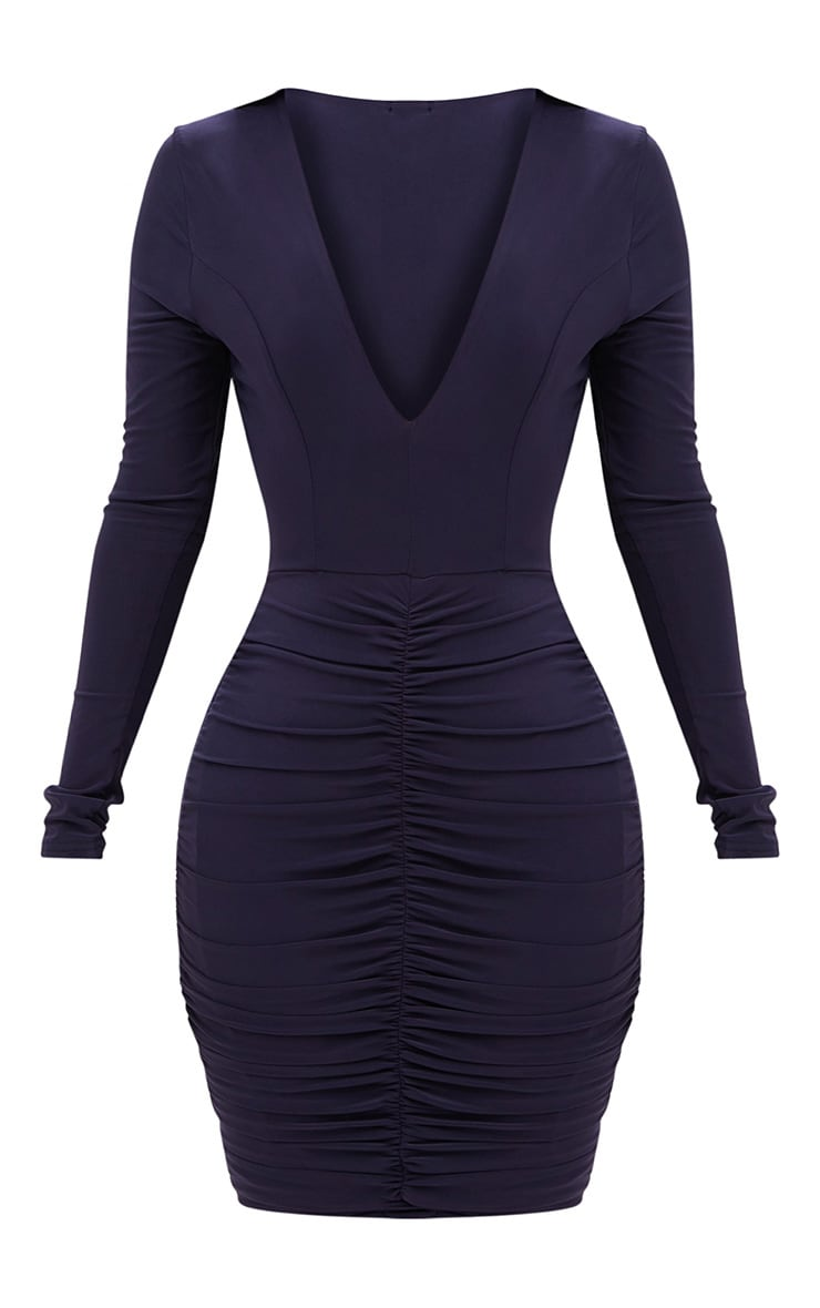 Shape Navy Ruched Slinky Mini Dress 3