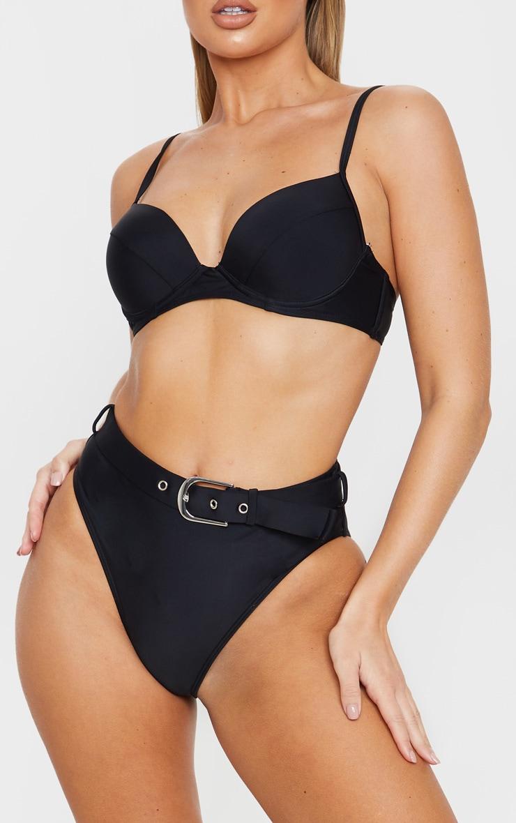 Black Belted High Waist Bikini Bottom 1