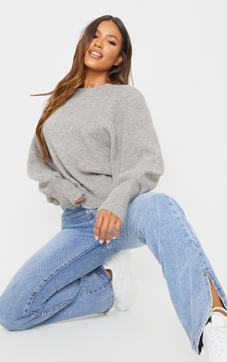 Charcoal Extreme Balloon Sleeve Knitted Jumper 3